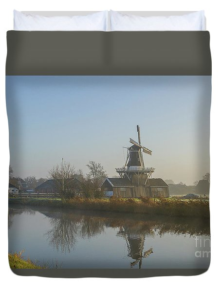 Two Dutch Windmills In The Fog Duvet Cover
