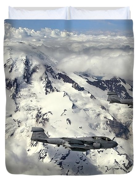 Two Ea-6b Prowlers Fly In Formation Duvet Cover by Stocktrek Images