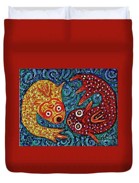 Two Fish Duvet Cover by Sarah Loft