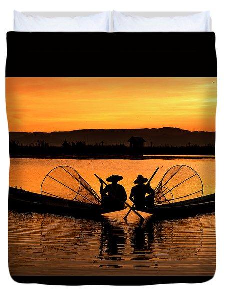 Duvet Cover featuring the photograph Two Fisherman At Sunset by Pradeep Raja Prints