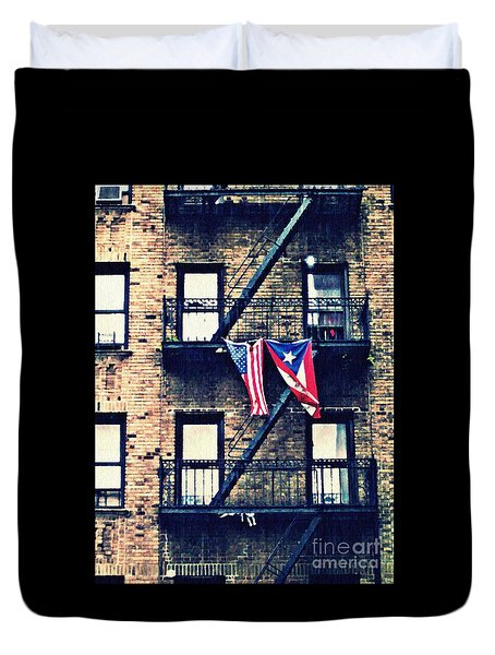 Two Flags In Washington Heights Duvet Cover by Sarah Loft