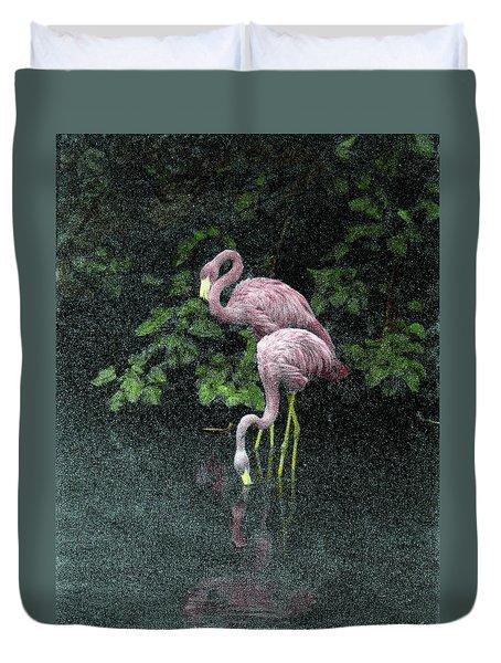 Two Flamingos Duvet Cover