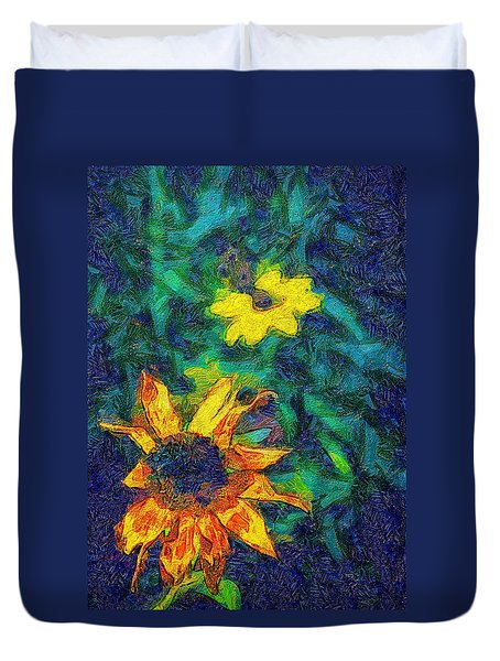 Two Flowers Duvet Cover