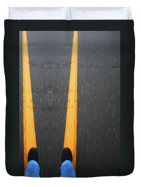 Two For The Road Duvet Cover by Karol Livote