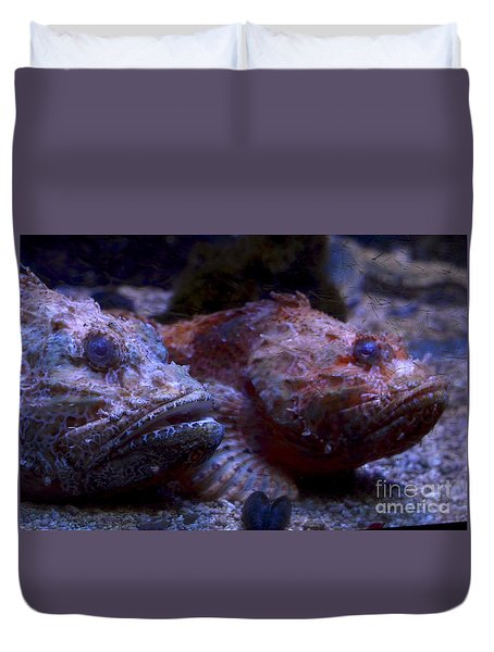 Duvet Cover featuring the digital art Old Friends by Leo Symon