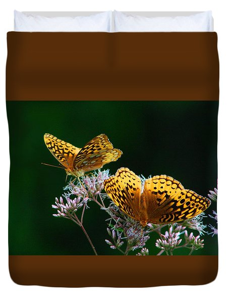 Two Fritillaries Duvet Cover by Kathryn Meyer