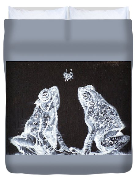 Two Frogs,one Fly Duvet Cover by Fabrizio Cassetta