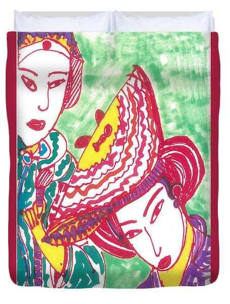 Duvet Cover featuring the painting Two Geishas by Don Koester