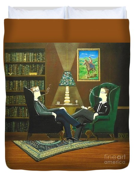 Two Gentlemen Sitting In Wingback Chairs At Private Club Duvet Cover