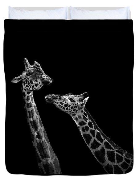 Two Giraffes In Black And White Duvet Cover
