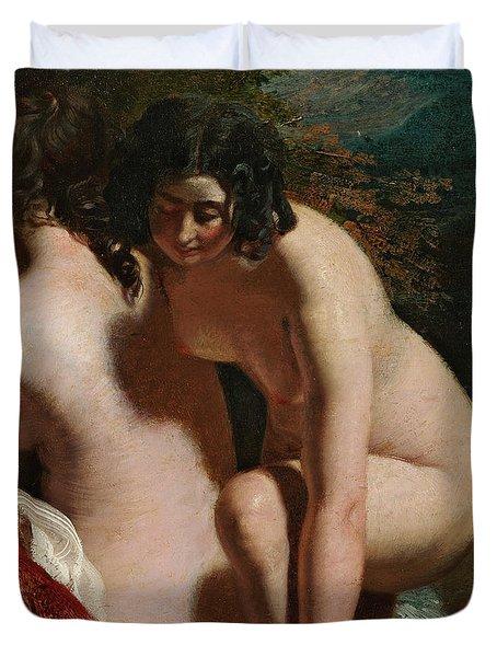 Two Girls Bathing Duvet Cover by William Etty