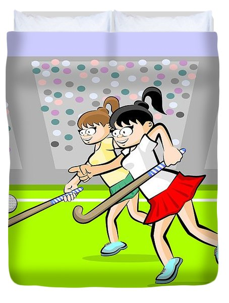 Two Girls Playing Grass Hockey In An Exciting Game In A Stadium  Duvet Cover
