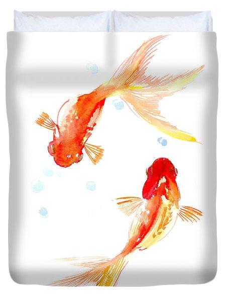 Two Goldfish Feng Shui Duvet Cover