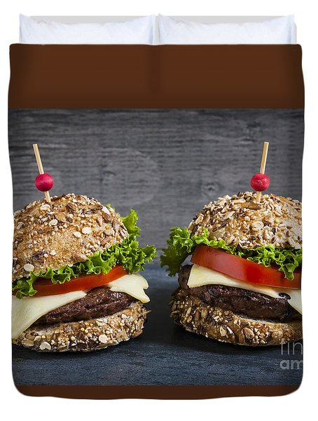 Two Gourmet Hamburgers Duvet Cover by Elena Elisseeva