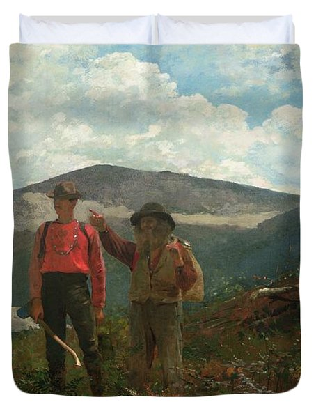 Two Guides Duvet Cover by Winslow Homer