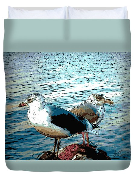 Two Gulls Duvet Cover by Ann Tracy