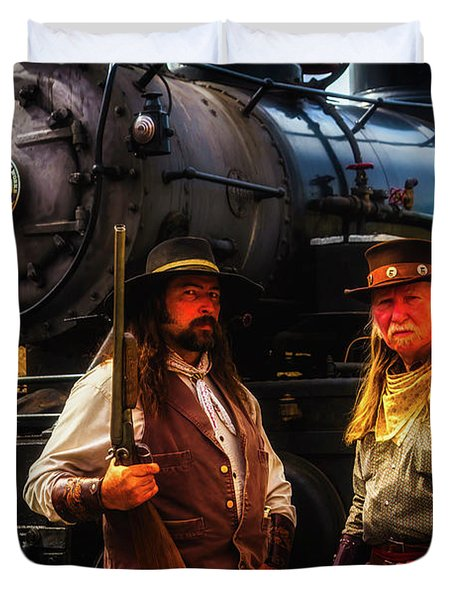 Two Gunfighters In Front Of Train Duvet Cover