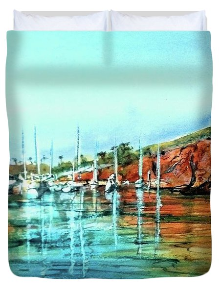 Two Harbors Catalina Morning Impressions Duvet Cover