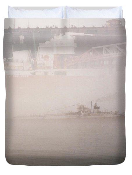 Two Harbors Fog Ship II Duvet Cover