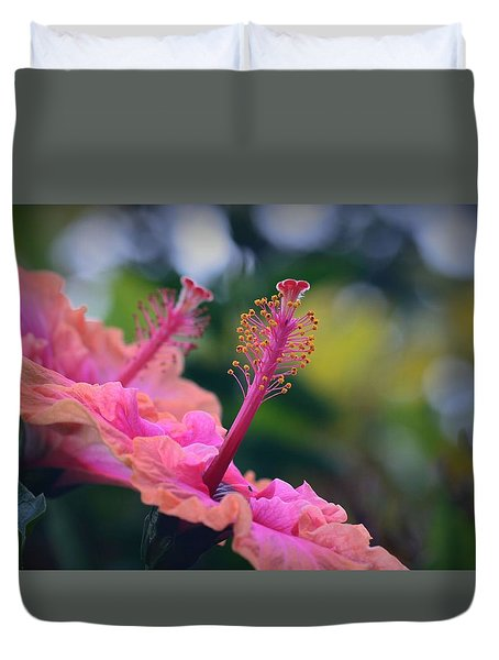 Two Hibiscus Duvet Cover by Lori Seaman