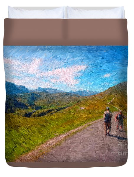 Two Hikers In Adelboden Duvet Cover by Gerhardt Isringhaus