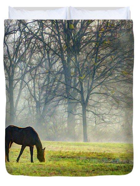 Two Horse Morning Duvet Cover