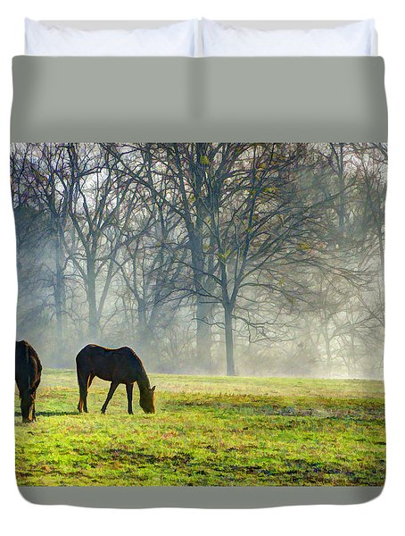 Two Horse Morning Duvet Cover