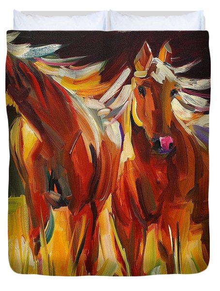 Two Horse Town Duvet Cover