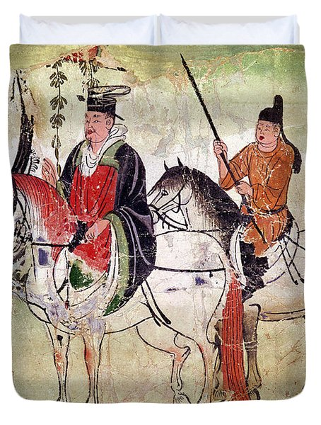 Two Horsemen In A Landscape Duvet Cover by Chinese School