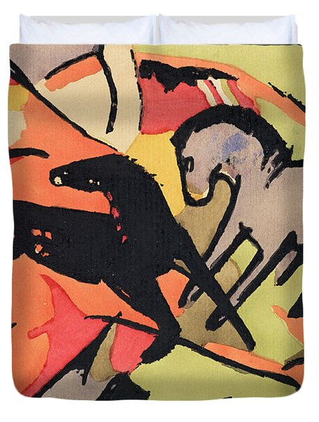 Two Horses Duvet Cover by Franz Marc