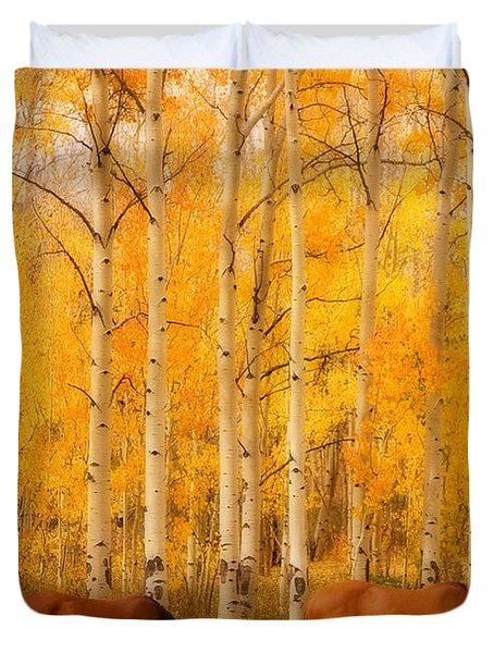 Two Horses In The Autumn Colors Duvet Cover by James BO  Insogna