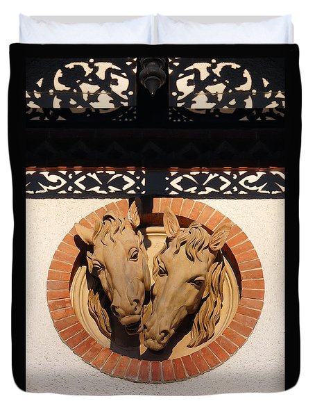 Two Horses In The Wall Duvet Cover