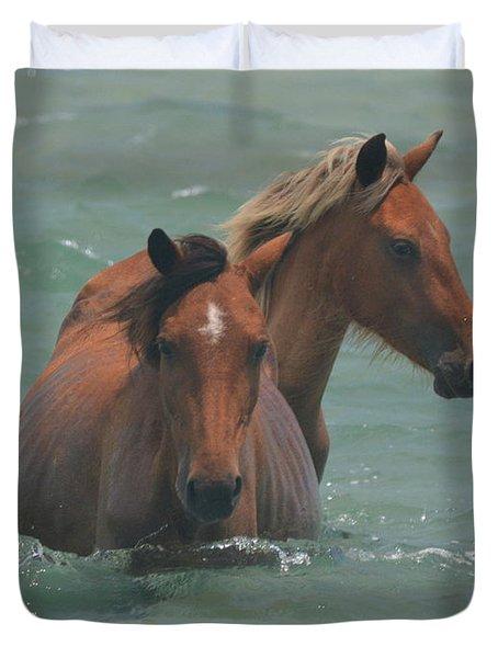 Two Horses Near Shackleford Duvet Cover