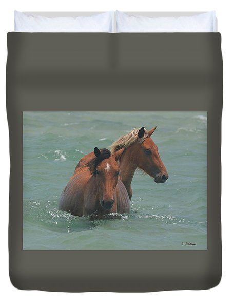 Two Horses Near Shackleford Duvet Cover