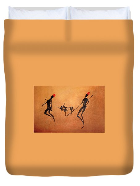 Two Hunters With Bull 3 Duvet Cover