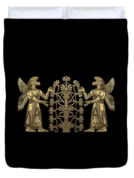 Two Instances Of Gold God Ninurta With Tree Of Life Over Black Canvas Duvet Cover