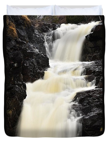 Duvet Cover featuring the photograph Two Island River Waterfall by Larry Ricker