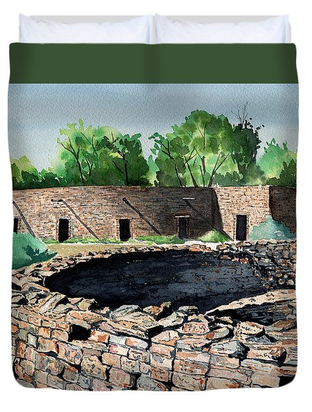 Two Kivas Aztec Ruins Duvet Cover