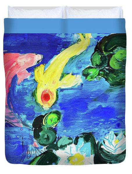 Two Koi Fish In A Lily Pond Duvet Cover by Amara Dacer