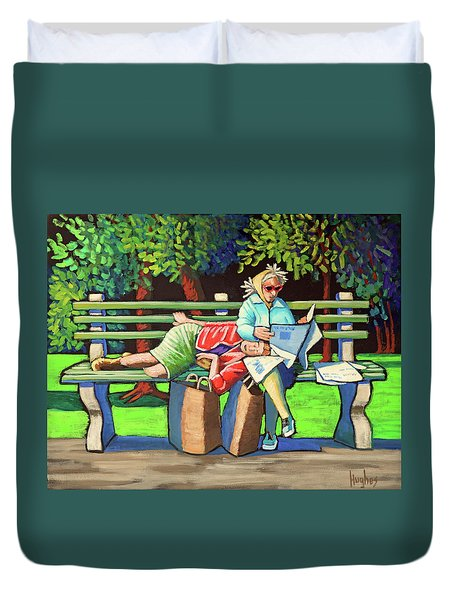 Two Ladies On Bench Duvet Cover