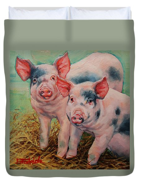 Duvet Cover featuring the painting Two Little Pigs  by Margaret Stockdale