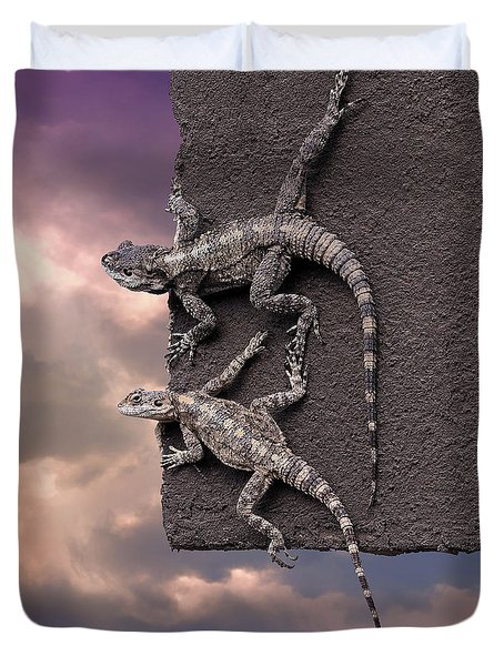 Two Lizards On The Edge Of The Roof Duvet Cover