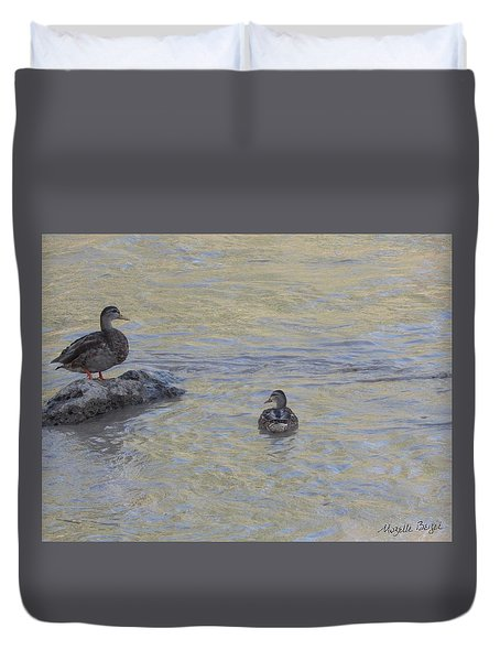 Two Mallard Ducks Duvet Cover