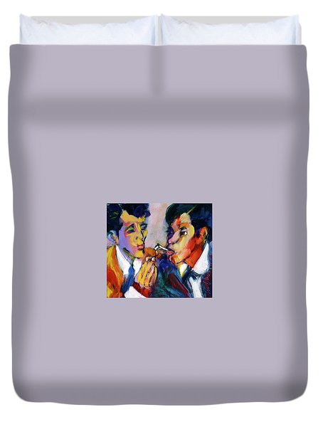 Two Men On A Match Duvet Cover