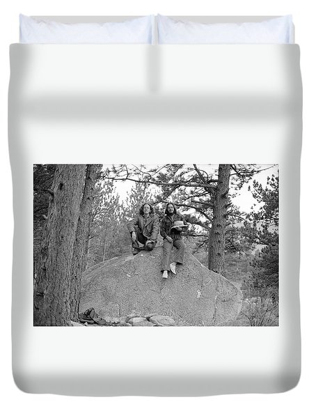 Two Men On A Boulder In The American West, 1972 Duvet Cover