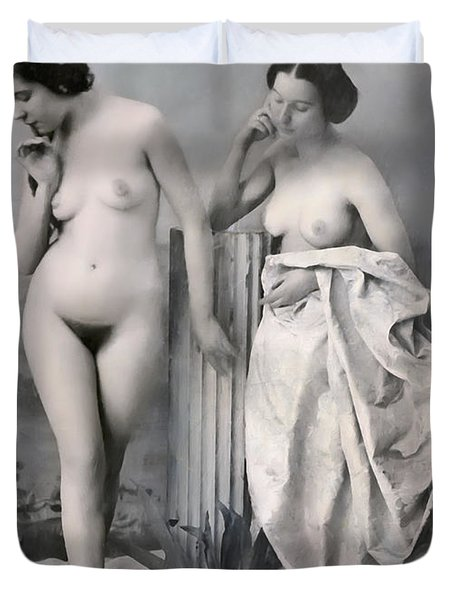 Two Nude Victorian Women At The Baths C. 1851 Duvet Cover by Daniel Hagerman