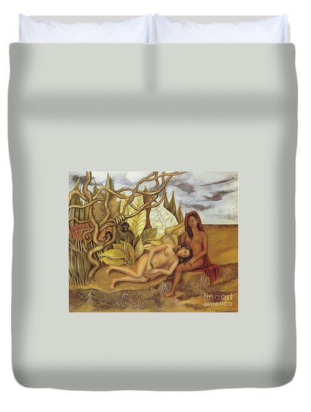 Two Nudes In The Forest Duvet Cover by Frida Kahlo