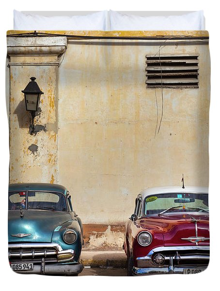 Duvet Cover featuring the photograph Two Old Vintage Chevys Havana Cuba by Charles Harden