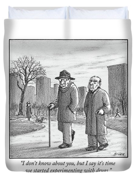 Two Older Men Walk With Canes Through A Park. Duvet Cover