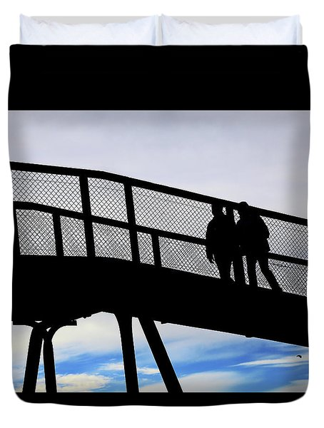 Duvet Cover featuring the photograph Two On A Bridge by Nareeta Martin